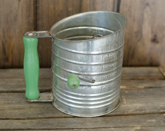 Primitive Green and Silver Kitchen Flour Sifter Bromwell's Measuring Sifter, green kitchen sifter, vintage green kitchen