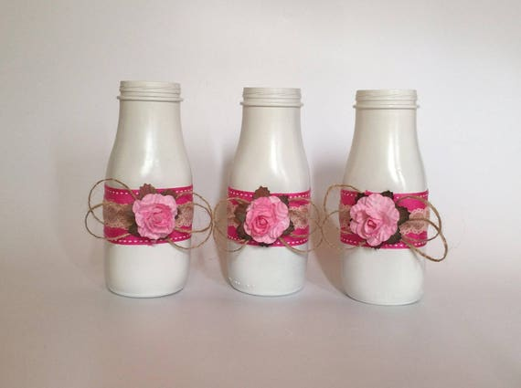 Three Decorated Small Milk Bottles Flower Vases Baby Etsy