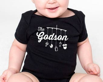 0814b1302 the godson toddler shirt or romper (script design) with mobile and toys |  great gift for a godson