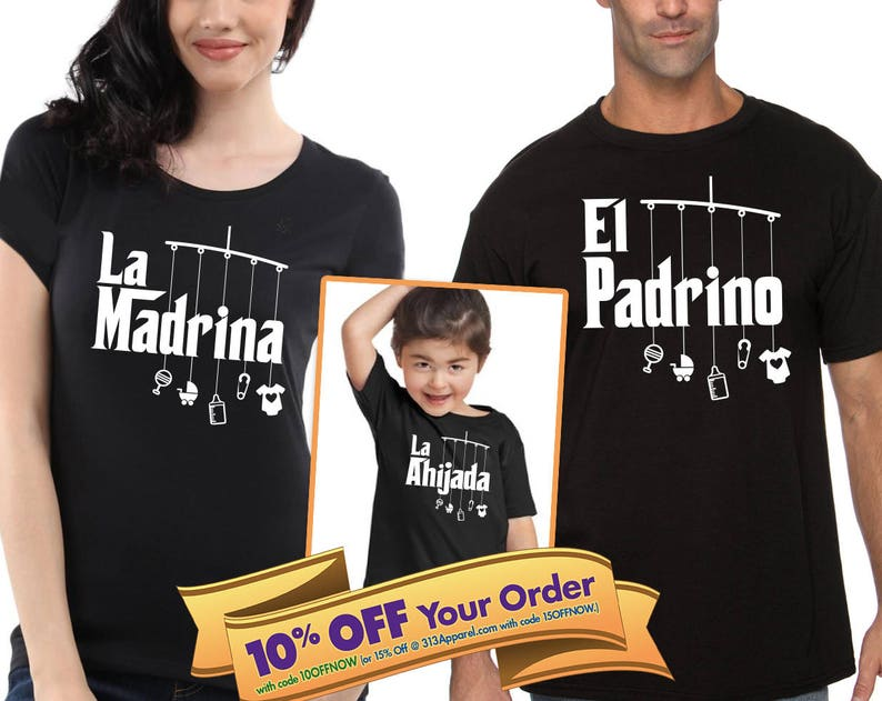 465668ee63a1f FREE Shipping | la madrina shirt, el padrino shirt, la ahijada and el  ahijado bodysuit or toddler t-shirt (Note@chkout: size/design)