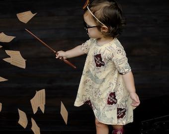 a03d1674c HP maps T-shirt dress, girls Harry Potter dress, maps dress, children's  clothing, girls dresses, Harry Potter clothing