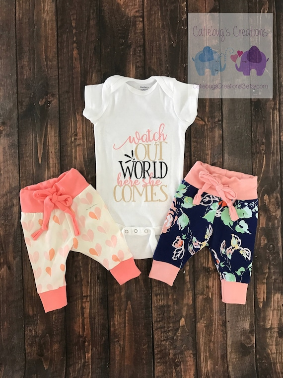 83f534fc5 Watch out world here she comes embroidered onesie new baby   Etsy