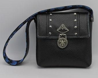 Steampunk Gothic Black Faux Leather Turn-lock Shoulder Bag -- Renegade Princess