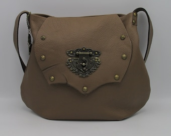 Steampunk Shoulder Bag with Hasp Latch in Raw Leather -- Conservatory Director