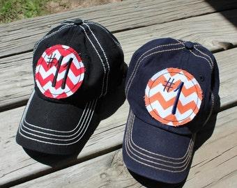 46dd968bcbf23 Custom Number Chevron Baseball Hat Cap Mom