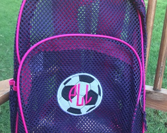 Mesh Backpack with Soccer Monogram Pink Purple