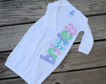 Applique Name Baby Gown Sleeper Layette