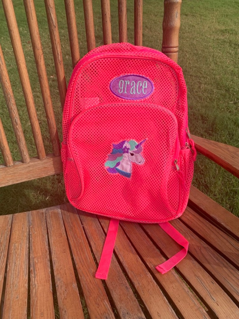 Mesh Backpack with Unicorn and Name