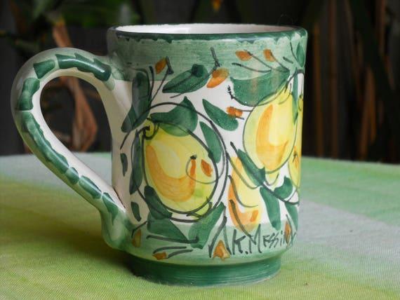 Tazza di ceramica siciliana con manico mug regalo bicchiere etsy