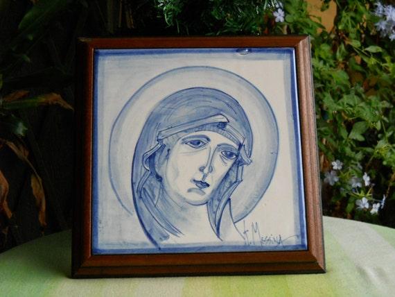 Mattonella di ceramica con cornice di legno quadro icona etsy