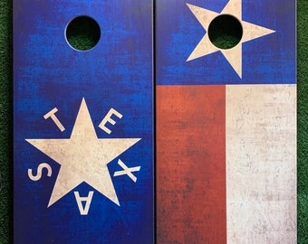 Cornhole Game by ColoradoJoes Texas Flag and Republic of Texas Flag Distressed