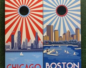 Cornhole Game-Chicago And Boston Sunburst