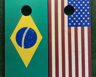 Cornhole Game by ColoradoJoes Brazil and American Flag