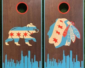 Cornhole Game-Chicago Cubs and Chicago Blackhawks Walnut