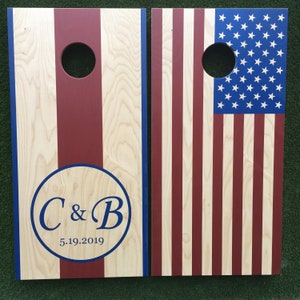 Cornhole Game by ColoradoJoes New Mexico Flag and United States Flag