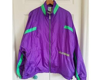 8a5aaec6b2 Vintage Nike international windbreaker 80s purple neon green windbreaker  oversized
