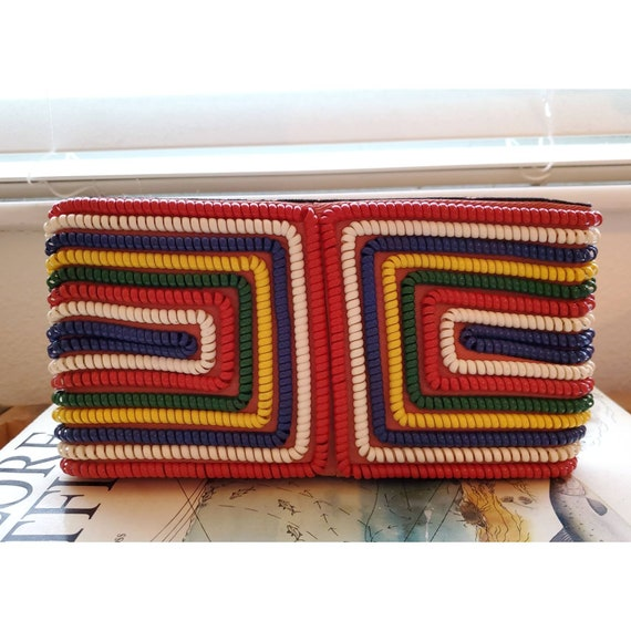 Rare vintage 1940s telephone cord purse- rainbow p