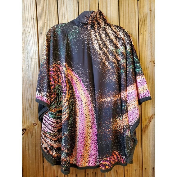 Vintage 70s abstract polyester poncho top or mini