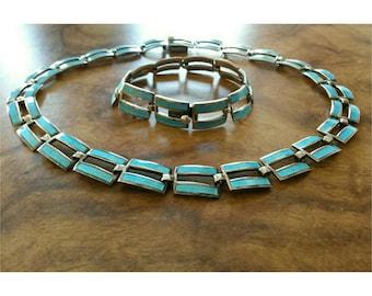 Rare Vintage Margo DE Taxco sterling silver and enamel necklace set with bracelet.