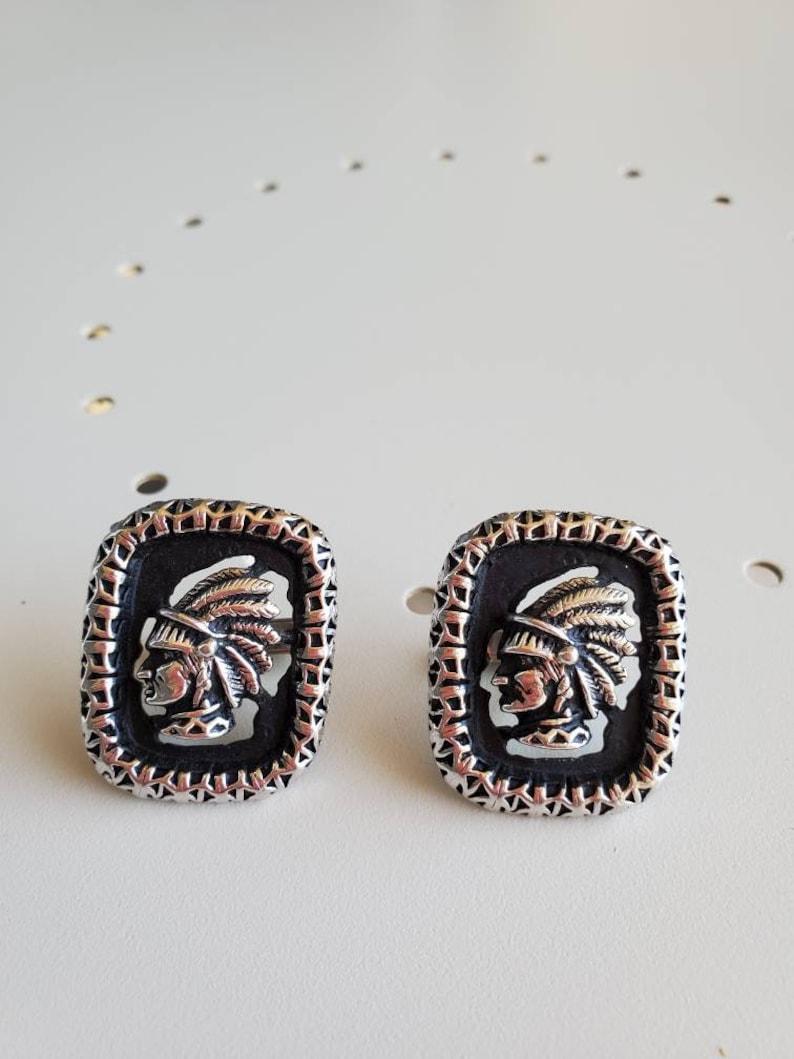 Vintage swank cufflinks native American chief silver cuff links