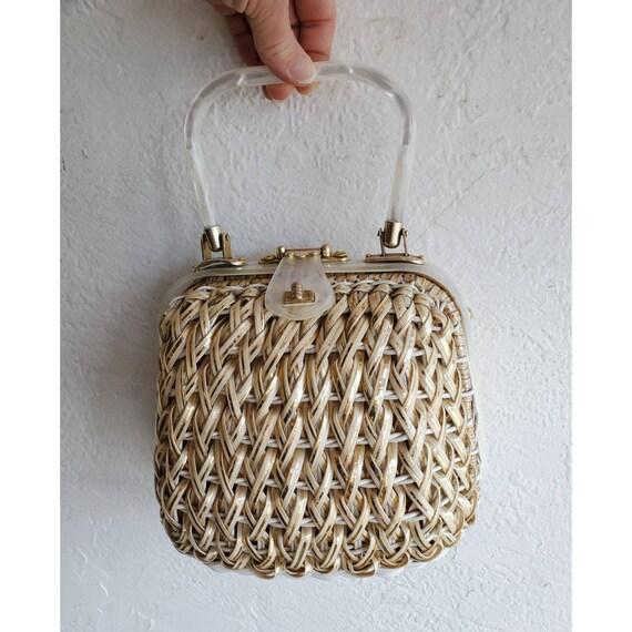 Vintage 50s Lucite basket woven wicker purse- styl