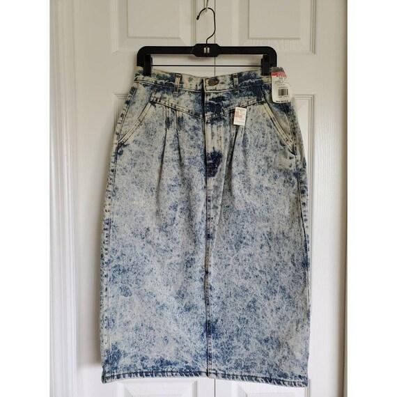 Vintage 80s acid wash chic jeans skirt- deadstock