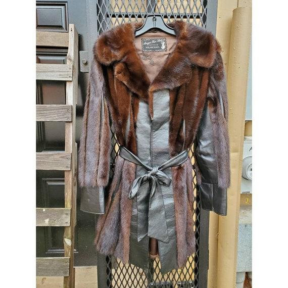 Vintage fur and leather stripe coat- anger fur sal