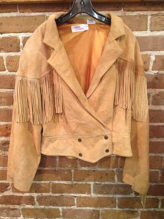Vintage Tan Suede Leather Fringe Jacket-  80s frin