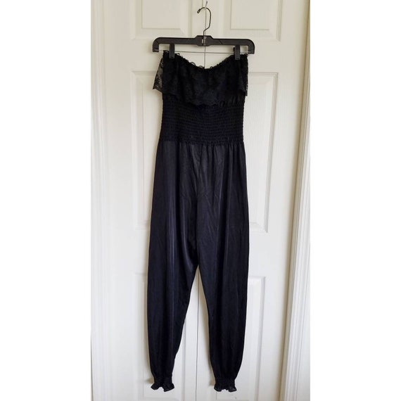 Vintage 80s black nylon and lace strapless jumpsui