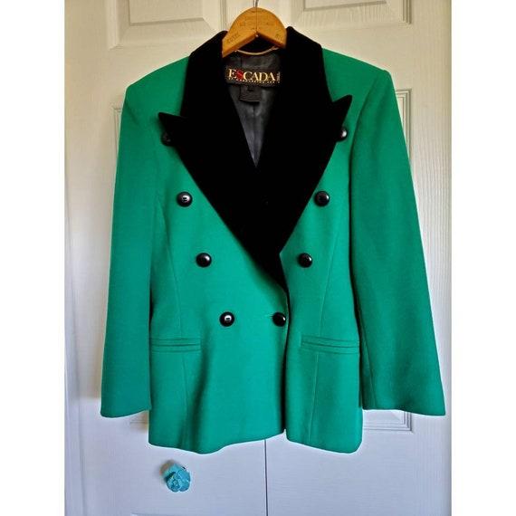 Vintage Escada wool and velvet blazer- emerald gre