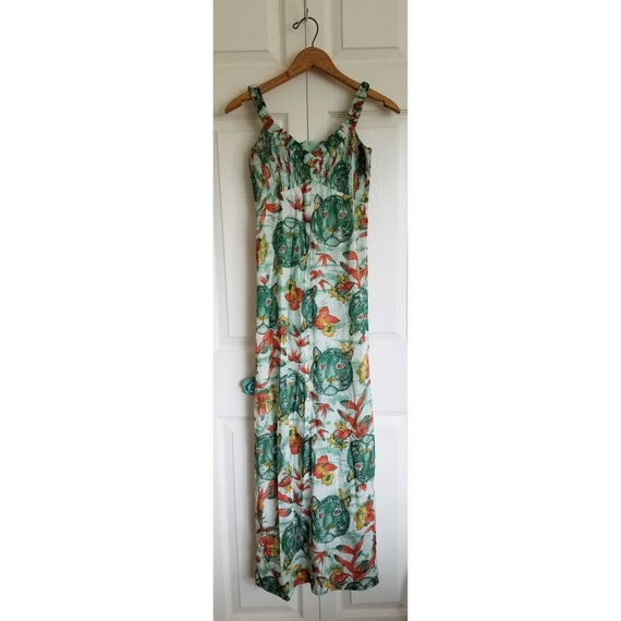 Vintage green polyester maxi dress with tiger face