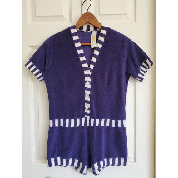 Vintage 1960's Terry Cloth Romper- navy and white