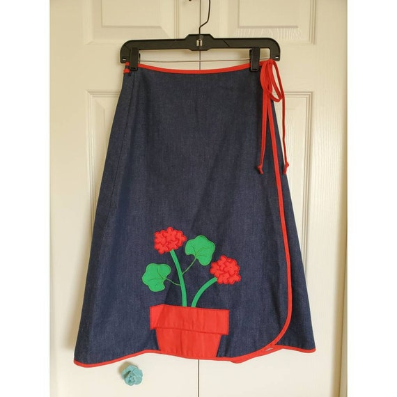 Vintage 60s 70s denim wrap skirt with potted flowe