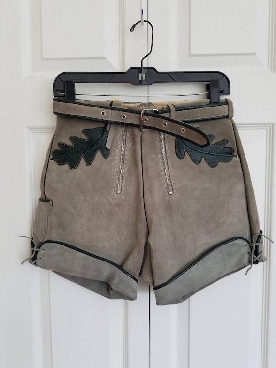Vintage lederhosen suede shorts- gray and green le