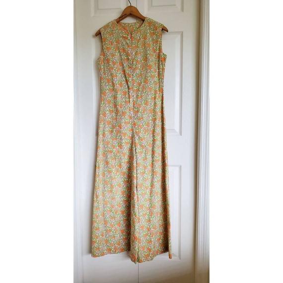 Vintage 60s 70s floral bell bottom jumpsuit- orang