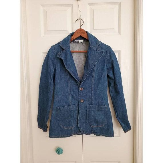 Vintage 70s Wrangler denim blazer with oversized b