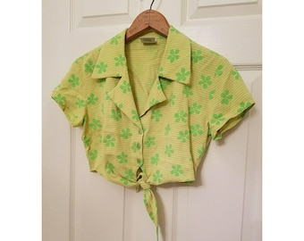 Vintage Copper Key retro mod floral 90s crop top yellow and green