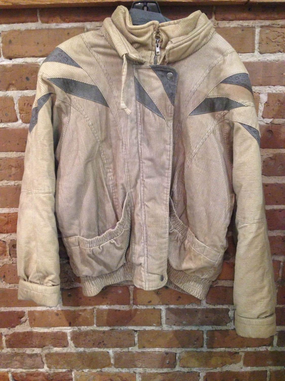 Vintage Tan and Gray Corduroy Puffer Jacket 80s Corduroy ...