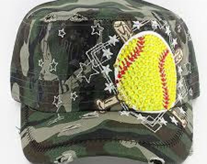94bf6922502 Softball Camo and Yellow Blinged Rhinestone Cadet Hat... Perfect Cap for  any Fastpitch