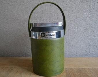 Lovely vintage mid century Coldylux green ice bucket