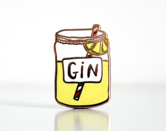 Birthday Gift for her - enamel pin - Gin Pin - yellow lapel pin - Enamel pin badge - Jewellery for her - Mum gifts - Gin Gift - brooch - gin