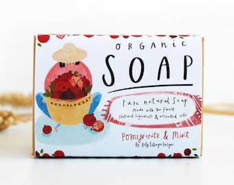 Pomegranate & Mint Organic Soap Bar - Natural soap bar Gift for her - Quirky birthday gifts for the home - Natural Soap with essential oils