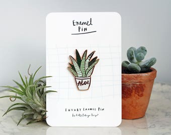 Aloe Vera Succulent Enamel Pin - Rose Gold and green - Luxury Plant Lapel Pin by Katy Pillinger Designs - Gift for any occasion