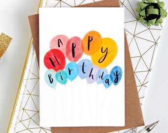 Happy Birthday Card Balloon For Any Age