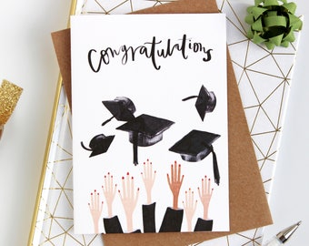 Quirky graduation illustrated card- congratulations card - Well done card - passed your exams card - degree card - phd card - Graduation