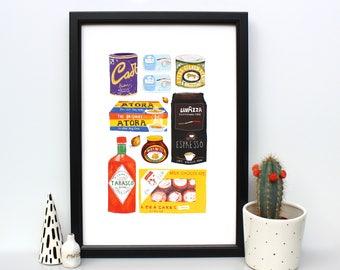 Food Cupboard illustration Print - British food - kitchen art - wall decor - tea cakes - marmite - food illustration - food wall art - home