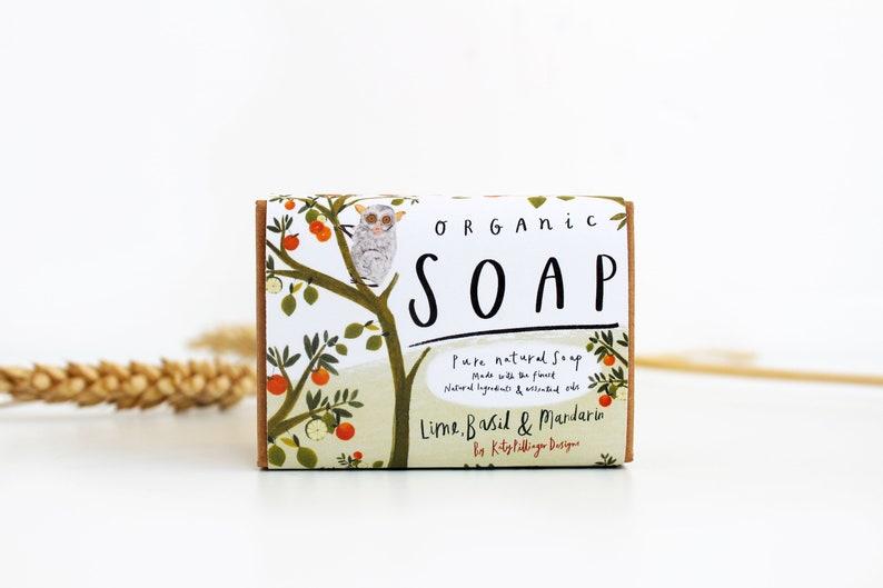 Organic Soap Bar Lime Basil & Mandarin  soap gift for her image 0