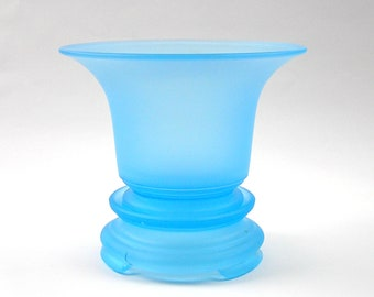 Satin Frosted Glass VASE Footed Blue and