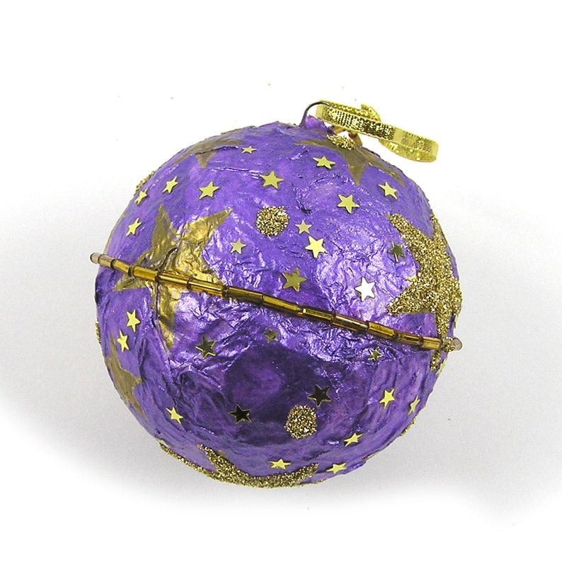 Purple and Gold Hand Decorated 3 Styrofoam Ball Ornament Gold Stars Ornament Handmade Ornament