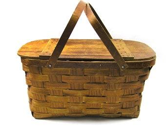 1940s Picnic Basket Wov-N-Wood Basket by Jerywil Wood Rustic Kitchen Storage